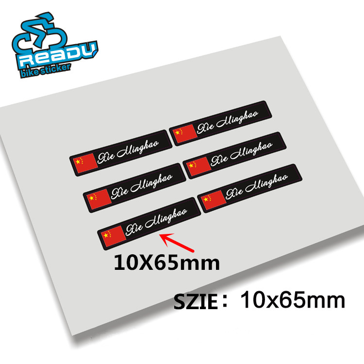 10 x65mm 3m material diy national flag personal name customized mtb road bike frame label decals