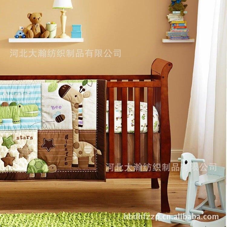 Promotion! 6 pièces brodé 100% coton bébé literie couette pare-chocs ensemble de literie (pare-chocs + couette + couvre-lit)