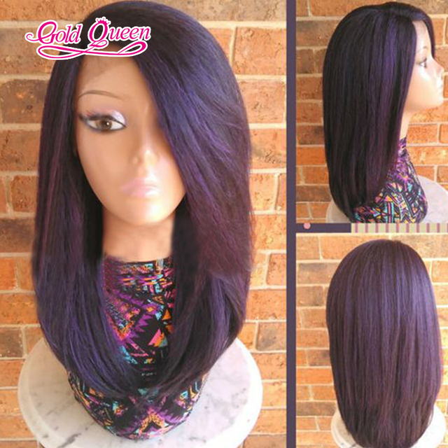 7A purple wig glueless full lace wigs side part 18inch front lace purple  wig for black fac979688