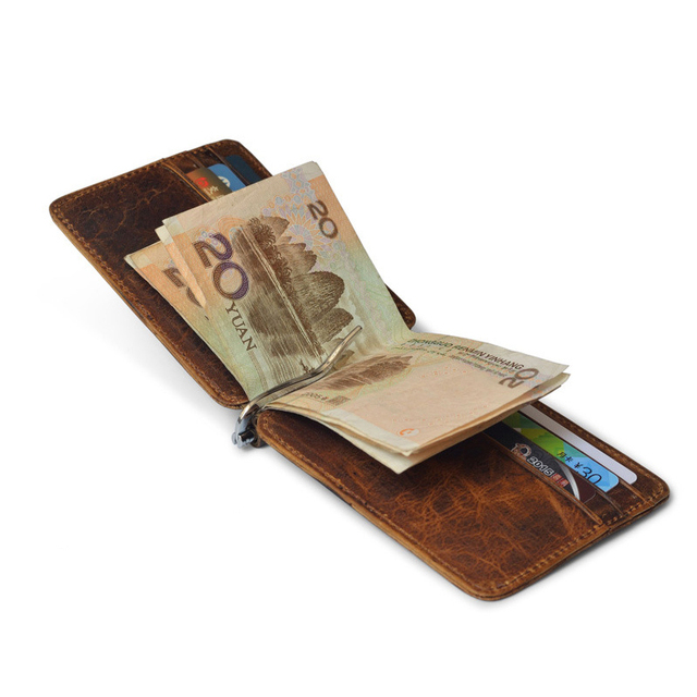 170057ae3a03e6 Thin Billfold Vintage Wallet Men Money Clips Genuine Leather Clamp for Money  Holder Credit Card Case Cash Clip 12 Card Pocket