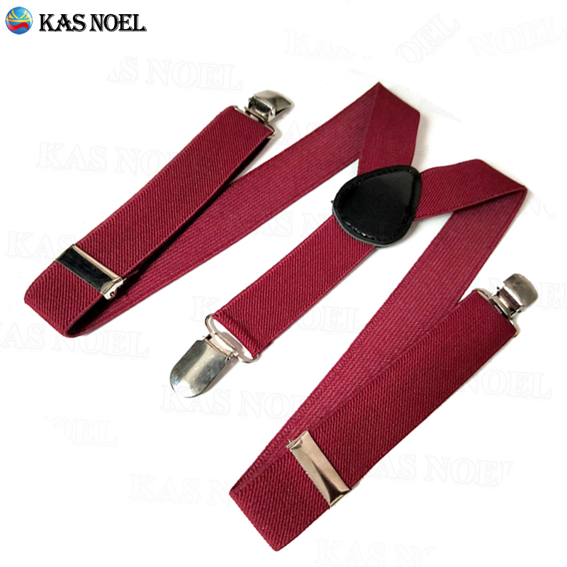 Wine Red Boy's Girls Adjustable Elastic Suspenders Y Back 3 Metal Clips Braces Straps Perfect For Party Weddings Formal Events