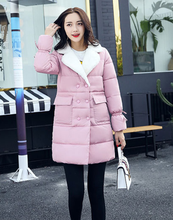Winter Jacket Women 2017 Casual Long Double Breasted Turn down collar Warm Cotton Padded Parkas Jacket M-XXL