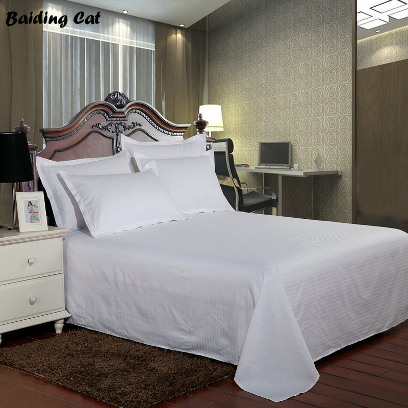 Flat Sheet 100/% Cotton Combed Satin Stripe Hotel Quality Single Double King Bed