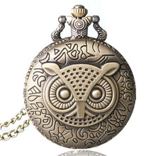 Coupon for wholesale buyer price good quality vintage classic new bronze enamel owl pocket watch necklace with chain цена