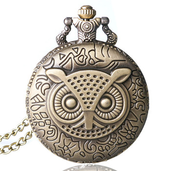 цена на Pokemon Coupon for wholesale buyer price good quality vintage classic new bronze enamel owl pocket watch necklace with chain