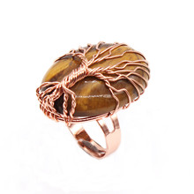 Kraft-beads Rose Gold Color Wire Wrap Oval Resizable Engagement Ring Natural Tiger Eye Stone Jewelry цена и фото
