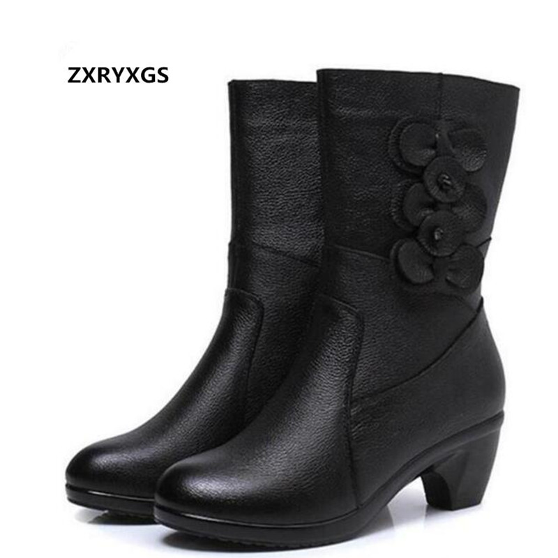 ZXRYXGS brand boots genuine leather shoes Women Boots 2018 New Winter Women Shoes Snow Boots Non-slip Warm Round In-tube Boots 2018 autumn and winter new leather women s cotton shoes korean rabbit hair fashion snow boots in the tube warm women s boots
