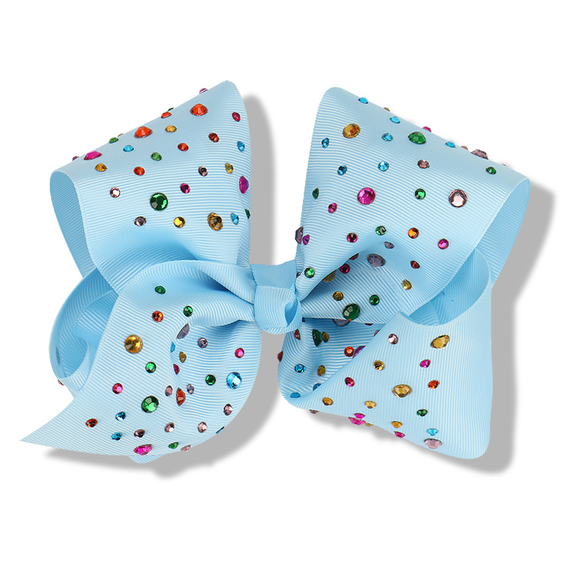 14pcs/lot New 8 Inch Big Hair Bows for Girls Hair Accessories with Rhinestone Grosgrain Ribbon Alligator Clips Barrette Bowknot