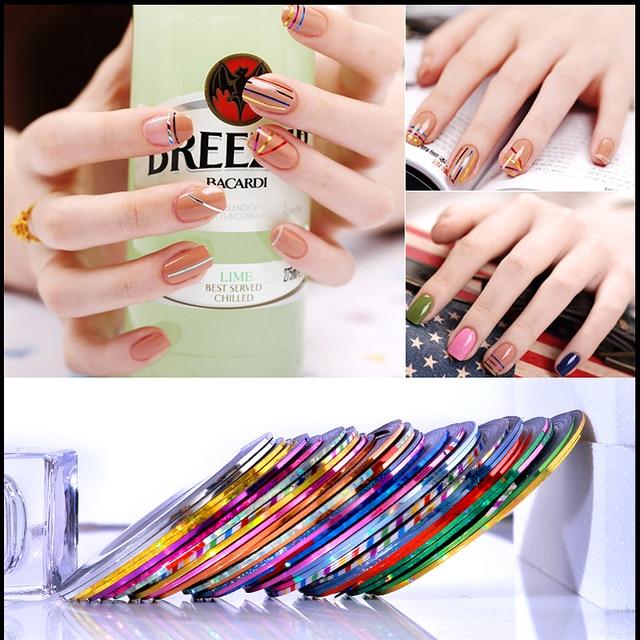10 Roll Gemengde Kleur Strip Tape Line Nail Art Decoratie Sticker