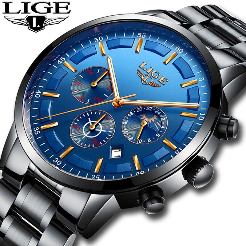 2018 LIGE Montre Hommes Mode Sport Quartz Hommes Montres Top Marque De Luxe Lune phase Affaires Etanche Montre Relogio Masculino