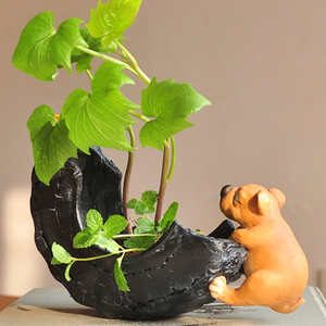 Image 2 - Everyday Collection Cute Dog Animal Decorative Flowerpot Succulent Artificial Green Plants Fairy Garden Pot Modern Home Decor