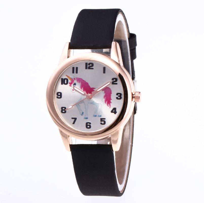 Watches Kids Watch Fashion Cute Cartoon Unicorn Leather Strap Wristwatch Classic Digital Girl Boy Watch Child Quartz Watch