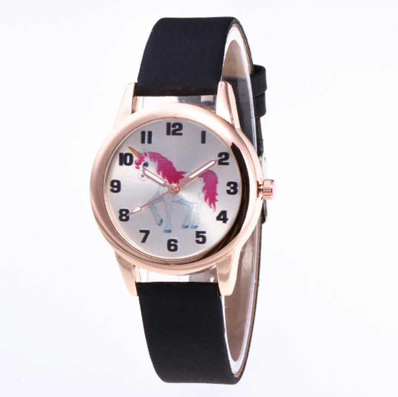 Kids Watch Fashion Cute Cartoon Unicorn Leather Strap Wristwatch Classic Digital Girl Boy Watch Child Quartz Watch