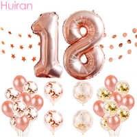 Globos de cumpleaños de Huiran, globos de número de oro rosa, globos de cumpleaños 18, decoraciones de fiesta de cumpleaños para niños adultos, 18 baloas de cumpleaños