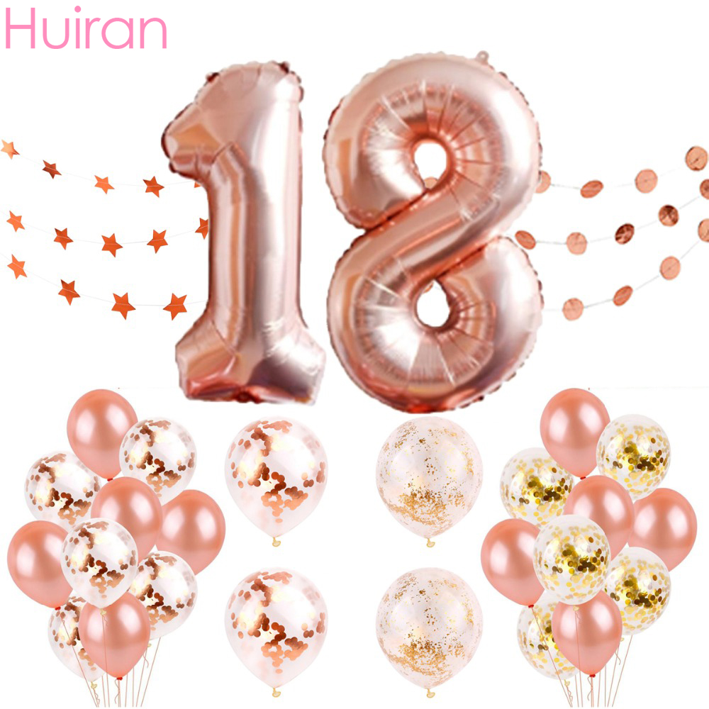 Huiran Happy Birthday Balloons Rose Gold Number Ballons Baloon 18th Party Decorations Kids Adult 18 Baloes