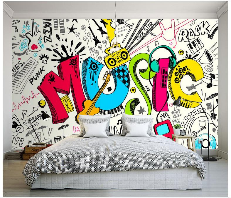 Cartoon style Music related Wall Mural Custom Photo Wallpaper For ...