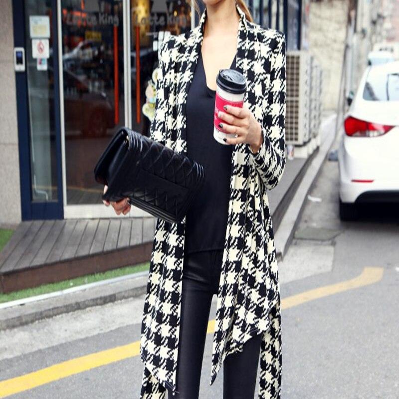 2017Korean Womens Houndstooth Pattern Thin Cardigan Coat Jacket Outwear Pattern Thin Cardigan Sweaters Cami Elegant Femme Casaco