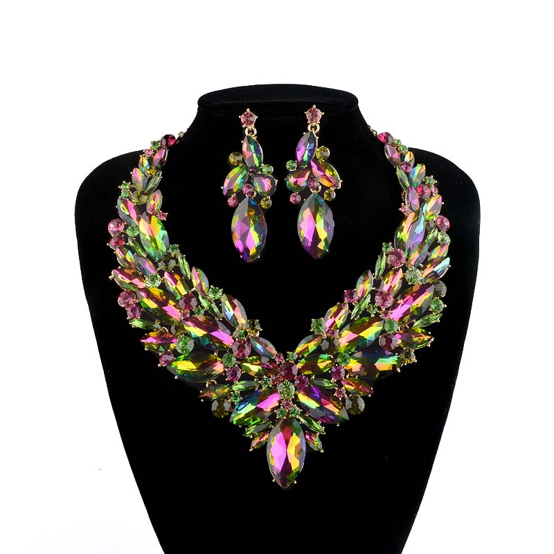 Gorgeous Bridal Jewelry Sets Wedding Necklace Earring For Women Brides Party Accessories Golden Plated Green AB color Crystal