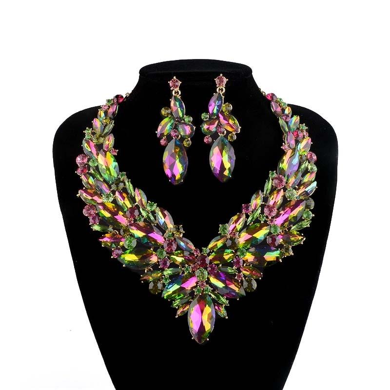 Прекрасне свадбене накит за вјенчање, минђуше за жене младенке, прибор за забаве, позлаћени зелени АБ боја, кристал