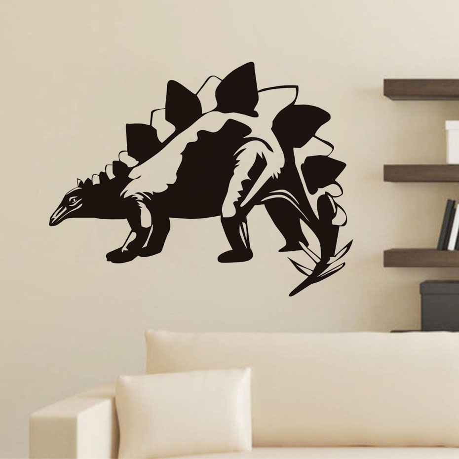 Ferocious Animal Stegosaurus Dinosaurs Wall Sticker Vinyls Jurassic Wall Decals Home Decorative Bedroom Living Room Art Mural-in Wall Stickers from Home & Garden