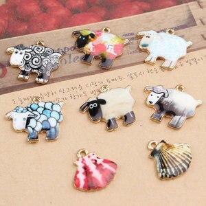 Frete grátis colorido padrão dos desenhos animados animais ovelhas/vieira forma jóias encantos diy colar/pulseira/brinco pingentes