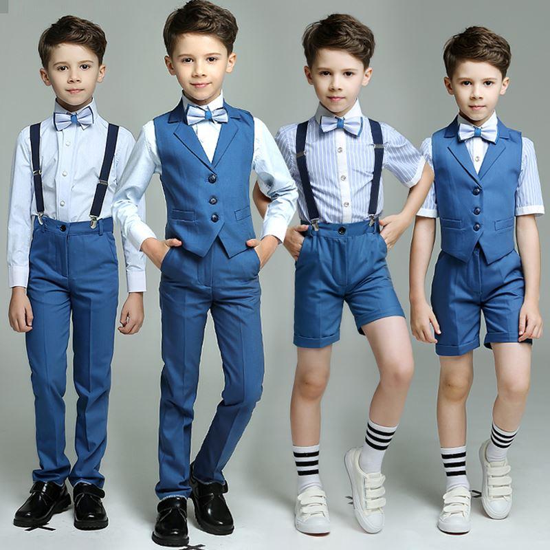 Fashion Kids Boys Blue 4pcs Strap Vest Pants Shirts Bow tie for Wedding Groom Show Performance