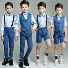 Fashion Kids Boys Blue 4pcs(Strap/Vest+Pants+Shirts+Bow tie) for Wedding Groom/Show/Performance/Birthday Wearing Blazer Suit Set(China)