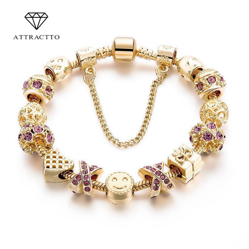 ATTRACTTO Arrival Heart Charm Bracelets For Women Jewelry Making Gold Chain Bead Bracelets & Bangles Original Pulsera SBR160131