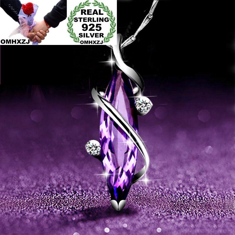 OMHXZJ Wholesale European Fashion Woman Girl Party Gift Amethyst AAA Zircon S925 Sterling Silver Necklace Pendant Charm CA161