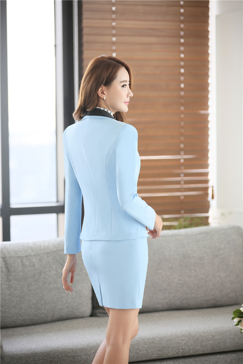 Spring Autumn Formal Women Skirt Suits Womens Business Suits Sky