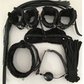 Hot Sale Flirt Adult Game 7 PCS/Set Black PU Leather Handcuffs Whip Collar Erotic Toy for Couple Adult Fun Cosplay Cotton String