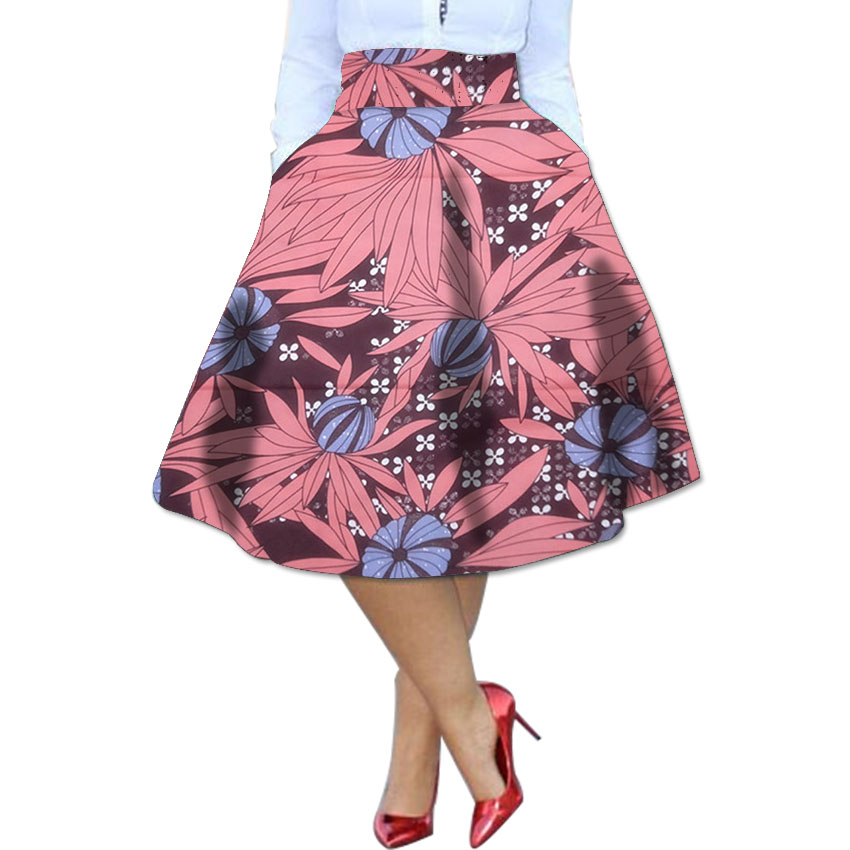 Elegant brightly wax africa print element ladies dashiki skirts custom african clothes for women to party/wedding