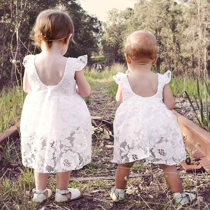 MUQGEW Baby Girls Ruffles Sleeve Dress Romper White Lace Round neck Sleeveless lovely Outfits Vetement Bebe Fille yf3