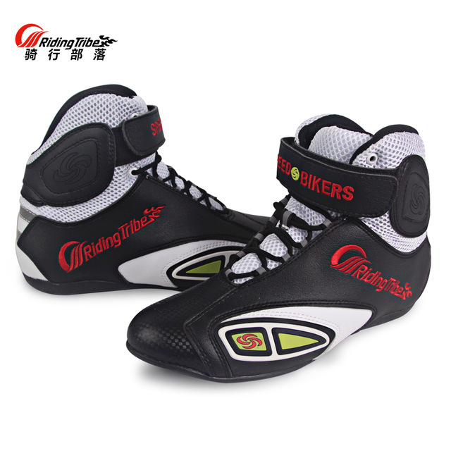 Breathable Motorcycle Boots Moto Shoes Motorcycle Non-slip Riding Racing Motocross PU Leather Shoes For Men Women