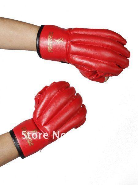 MMA Wing Chun Fingerless Sandbag Punching Gloves Sandbag Gloves - Red