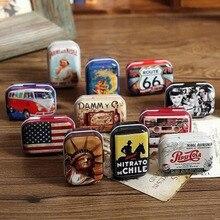 Mini caja de lata de viaje de estilo americano portátil de primera calidad 1 unidad Zakka Vintage caja de almacenamiento de latas de Metal pequeño estuche de píldora organizador