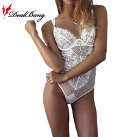 DealBang2017 New Arrivel Sexy Skinny Solid Strapless Lace Bodysuit White Black Bodycon Women Rompers Combinaison Femme