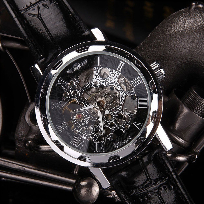 New Fashion Classic Men's Black Leather Dial Skeleton Mechanical Sport Army Wrist Watch Skeleton Watches Mens Watches Top Brand купить