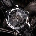 Nova Moda Couro Preto dos homens Clássicos Dial Esqueleto Esporte Exército Relógio de Pulso Mecânico Esqueleto Relógios Dos Homens Relógios Marca de Topo