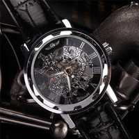 New Fashion Classic Men S Black Leather Dial Skeleton Mechanical Sport Army Wrist Watch Skeleton Watches