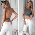 Fashion Casual Women Joker Tank Tropical Crop Tops Latinas Sexy Top Fitness T-shirt Bandage Backless Sleeveless Top Tanks