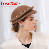 Winter Elegant Wool Felt Beret Caps For Women Painter Caps Female Free Shipping SWDW017