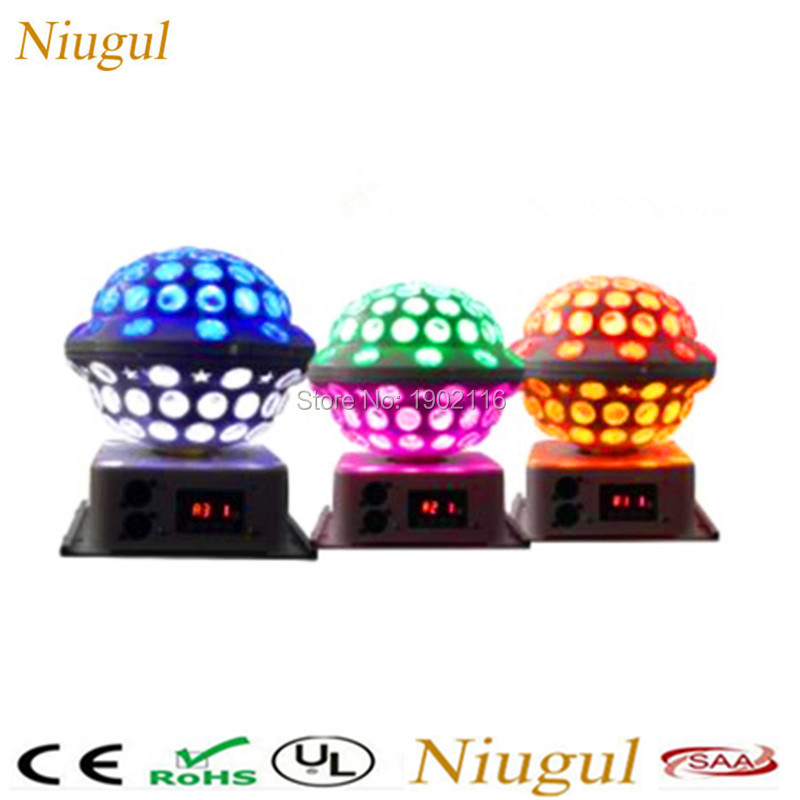 все цены на Niugul RGB LED Crystal Magic Ball DMX512 Stage Effect Lighting Lamp Bulb Party Disco Club DJ Light Show KTV home party lights онлайн