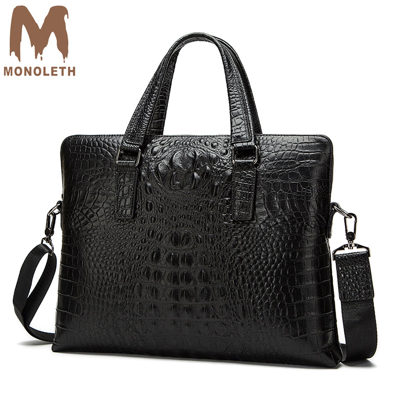 MONOLETH Top-handle Genuine Leather briefcase Men Bag Business Crocodile Casual Bag Shoulder Messenger Bags Crocdile Tote Soft monoleth genuine leather briefcase men business fashion messenger bag 14 laptop bag crossbody bags tote casual