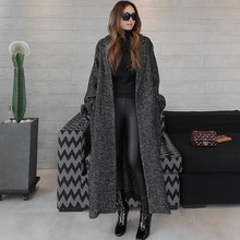 TREND-Setter 2017 Autumn and Winter Wool Trench Coat for Women Casual Loose Striped Long Vintage Black Coat