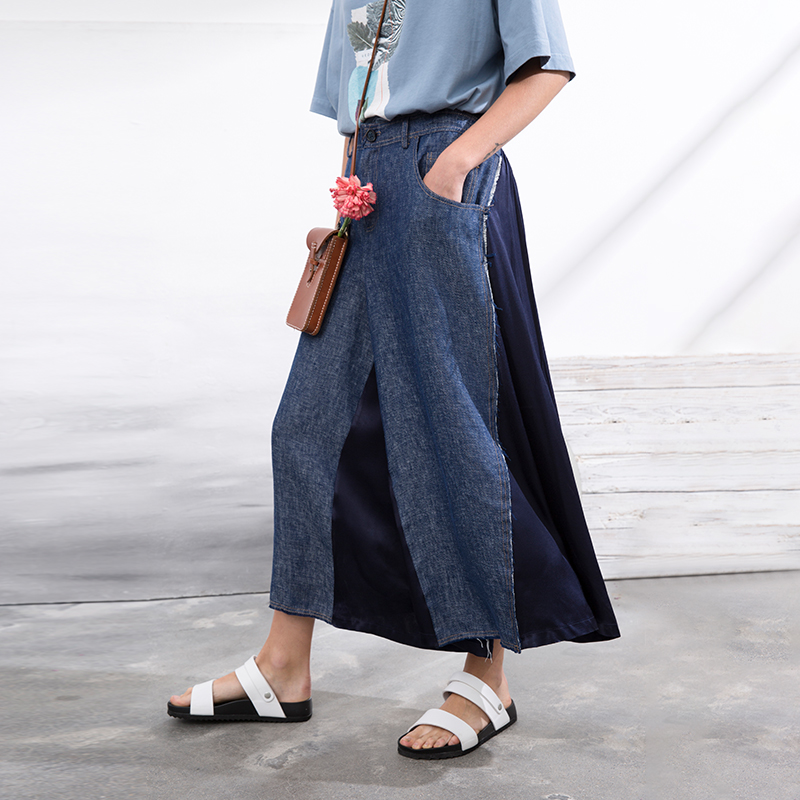 IRINAW049 new arrival summer 2018 linen denim patchwork cropped trousers wide leg pants women cropped wide sleeve top