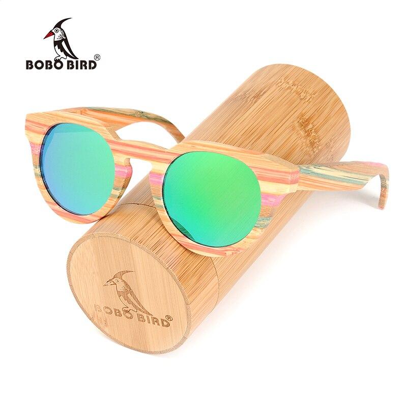 BOBO OISEAU Marque D'origine Bambou lunettes de Soleil Rondes Femmes De Mode De Luxe Unique Polarisées Lunettes de Soleil avec Boîte Cadeau En Bois C-BG018