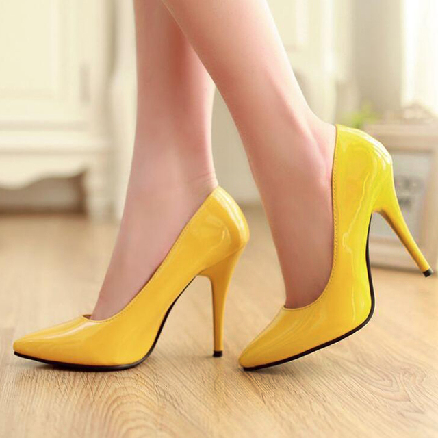 New Arrived Women Heeled Shoes Women Stiletto Party Pointed Toe Sexy Wedding Fashion Shoes Patent Leather Thin Heels Plus Size