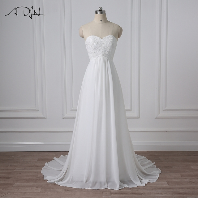 ADLN Chiffon Wedding Dresses In Stock A line Pregnant Bridal Gowns ...