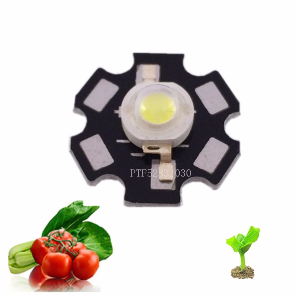 High Power 3W White Full Spectrum 380NNM-840NM Plant Grow Led Beads On 20MM PCB Board For Flower Garden Park Useage Led Lighting